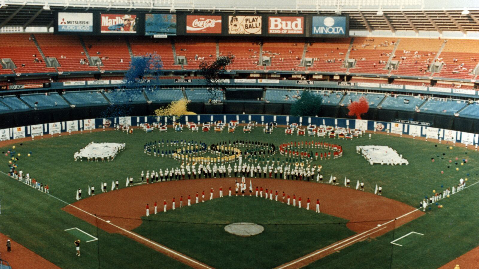 The band performing on the field of Atlanta-Fulton County stadium to promote the olympics.
