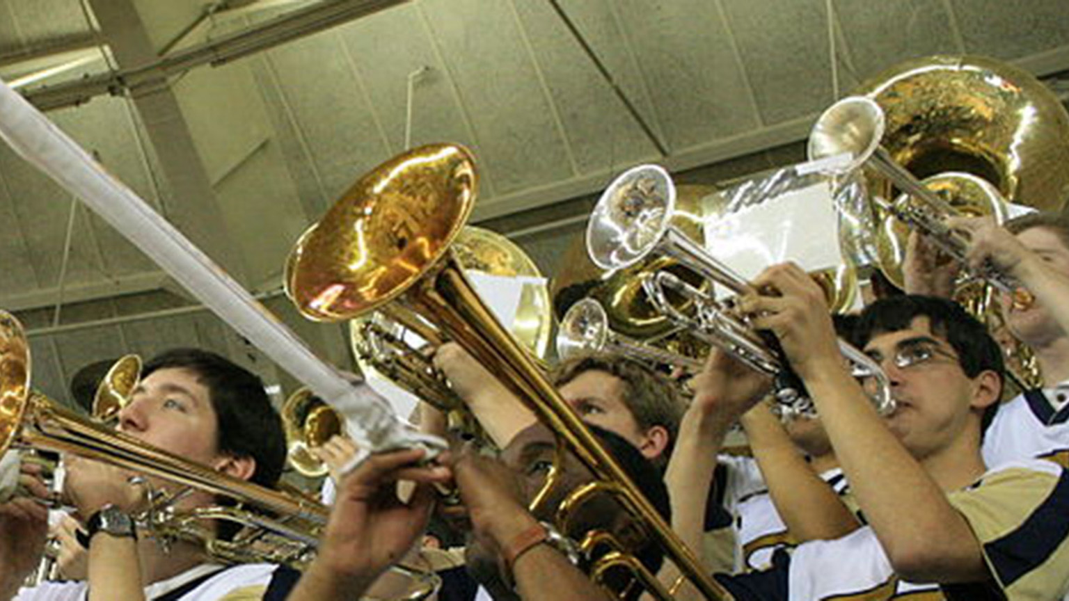The Pep Band during a performance in McCamish Pavilion.