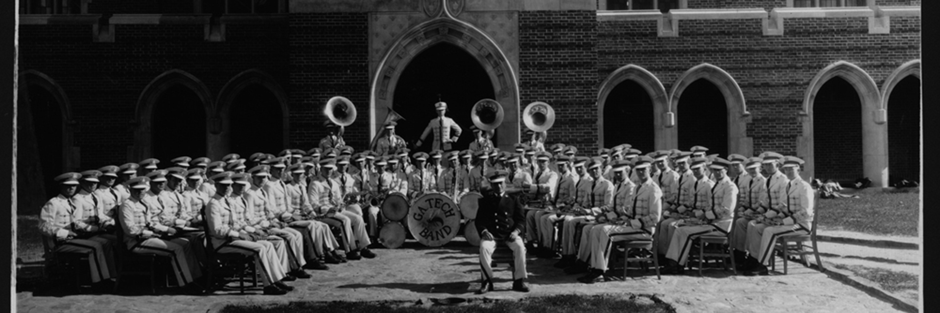 A historical black and white photo of the Georgia Tech band.