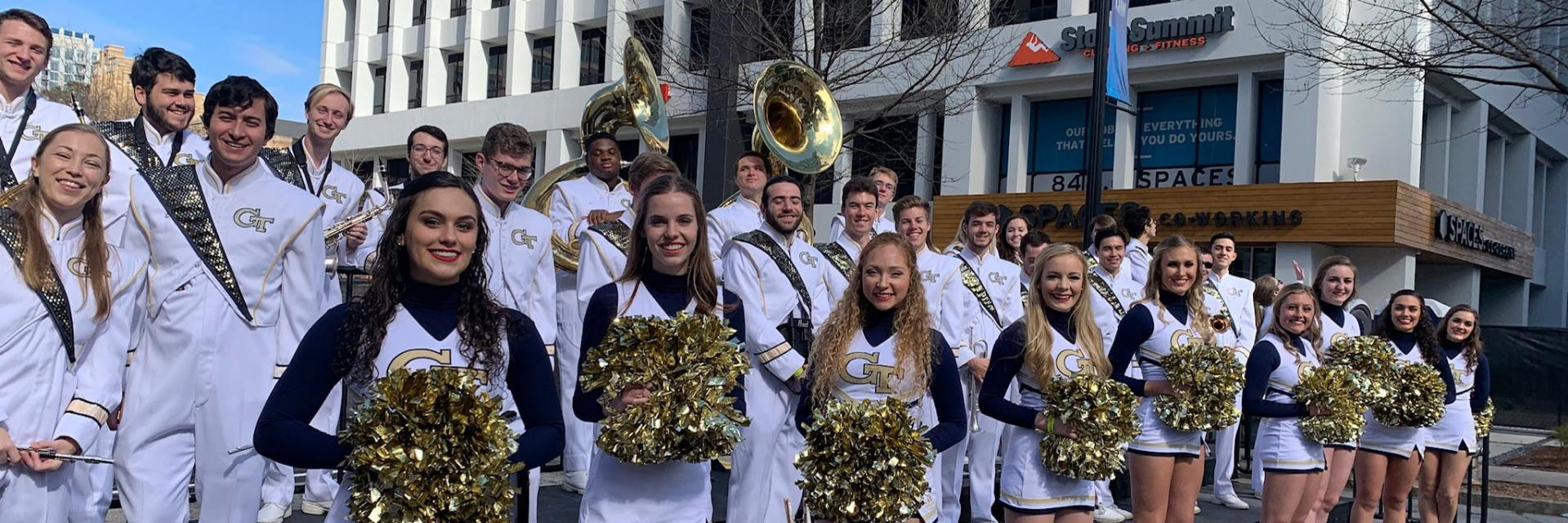 The Pep Band before a performance at the Super Bowl LIVE show.