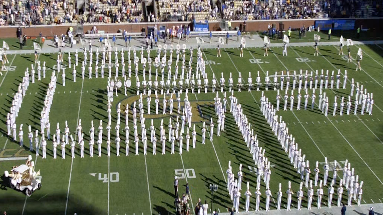 The Georgia Tech Marching Band entertaining fans in a pregame performance.